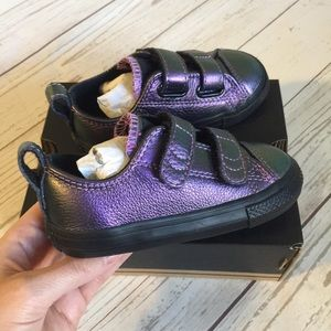 3a3b92cfedad Converse Shoes - Girls Converse Purple Metallic Velcro Ox